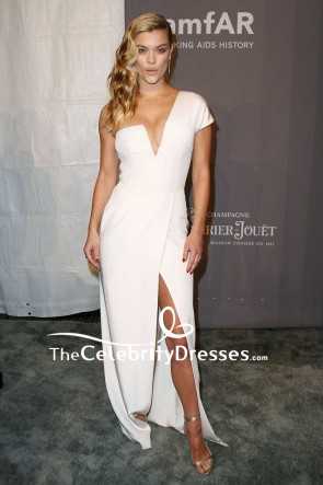 Nina Agdal White One-shoulder Thigh-high Split Evening Dress 2018 amfAR Gala New York Red Carpet