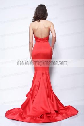 Nina Dobrev Rouge robe bustier robe de bal formelle Emmy Awards 2011