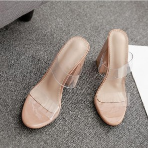Nude Transparent Open Toe Chunky Heel Sandals For Women