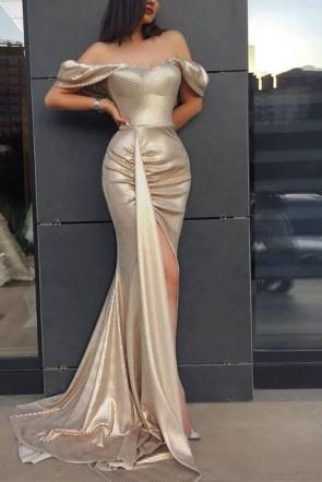 Off Shoulder Slit Gold Prom Dress