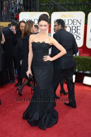 Robe de soirée formelle sans bretelles noire Olga Kurylenko Golden Globe Awards 2013