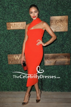 Olivia Culpo Red Fitted One-shoulder Cocktail Dress 2018 Sports Illustrated Swimsuit show