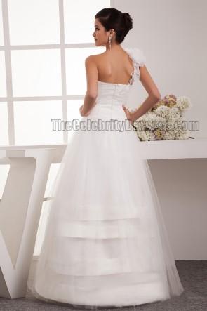 One Shoulder A-Line Beaded Floor Length Wedding Dress
