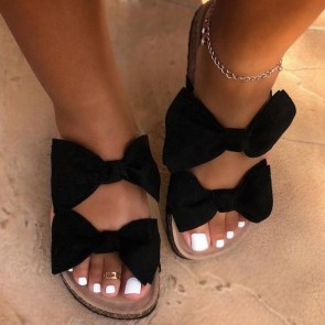 Open-toe Flip Flops With Double Bow-knots