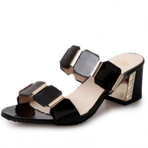 Open Toe Chunky Heel Sandals For Women