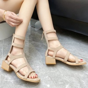 Open Toe Cut Out Sandals With Zipper