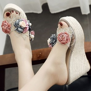Open Toe Wedge Sandals Decor With Flowers