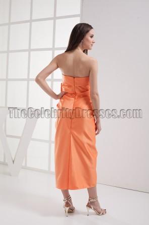 Discount Orange Strapless Bridesmaid Prom Dresses