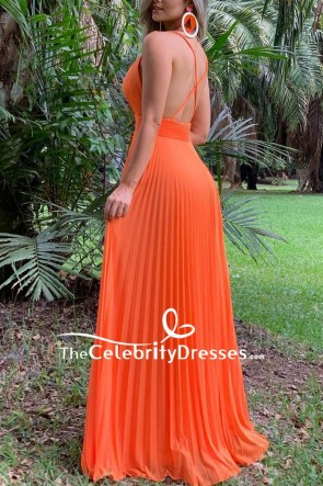 Orange V-neck Spaghetti Straps Pleated Evening Dress TCDFD8601