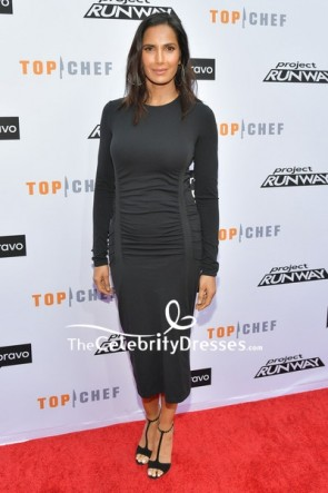 Padma Lakshmi Black Form-fitting Cocktail Dress With Long Sleeves