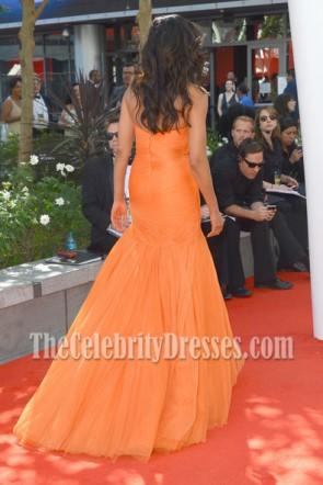Padma Lakshmi Orange Robe formelle 2012 Emmy Awards tapis rouge
