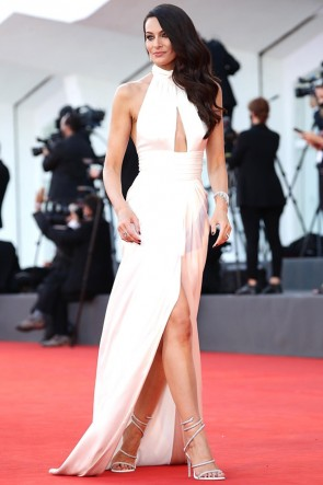 Paola Turani White Halter Formal Dress 2020 Venice Film Festival Red Carpet