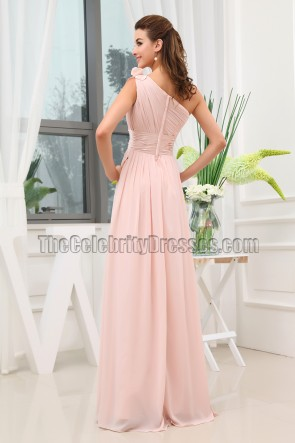 Discount Pearl Pink One Shoulder Bridesmaid Dress Prom Gown