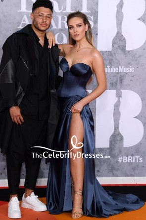 Perrie Edwards Strapless Blue Thigh-high Slit Evening Dress BRIT Awards 2019
