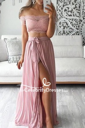Pink Lace Two Pieces Thigh-high Slit Prom Dress