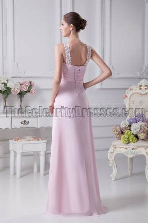 Floor Length Pink Beaded Bridesmaid Prom Dresses