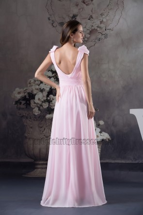 Pink Chiffon Floor Length Prom Dress Bridesmaid Evening Gown