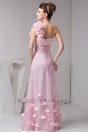 Pink One Shoulder Floor Length Prom Gown Evening Dresses