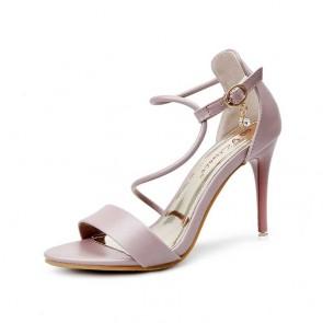 Sandales à talons hauts sexy noires à bout ouvert, bride à la cheville, boucles, chaussures pour femmes