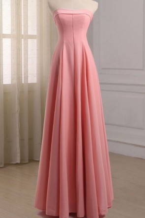 Pink Strapless A-Line Evening Dress Formal Prom Gown