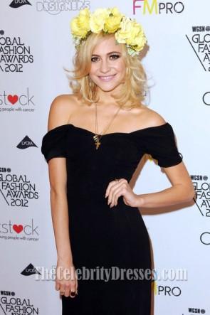 Pixie Lott - Robe de bal noire à épaules dénudées WGSN Global Fashion Awards - Tapis rouge