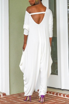 Plain Cutout Back Loose Jumpsuit