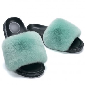 Plain Fluffy Open-toe Sliders