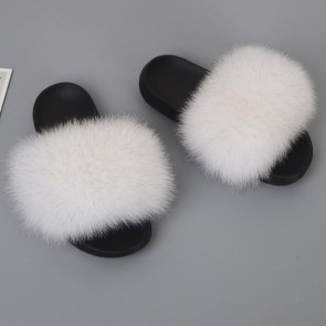 Plain Fluffy Open-toe Slippers