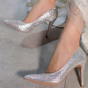 Pointed Toe Stiletto Heels Wedding Shoes For Bride