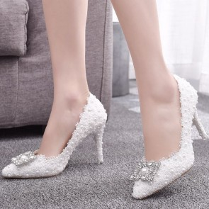 Pointed Toe Stiletto Heels Wedding Shoes With Applique