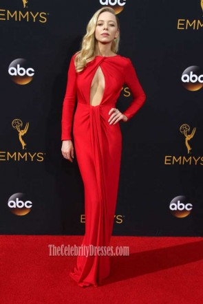 Portia Doubleday Red Long Sleeves Backless Sheath 2016 Emmy Awards