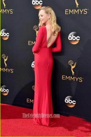 Portia Doubleday 2016 Emmy Awards Robe de Soirée Rouge à Manches Longues