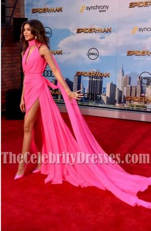 Zendaya Coleman Robe de soirée rose fendue à haute fente Spider-Man: retour à la maison
