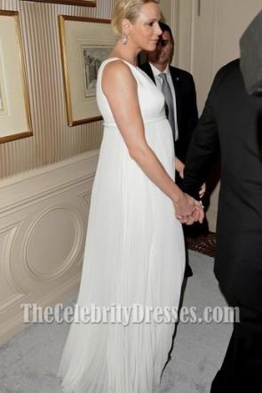Princess Charlene of Monaco Ivory Evening Dress 2014 Princess Grace Awards Gala