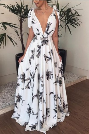Deep V-Neck Shoulder Knot Backless Dress