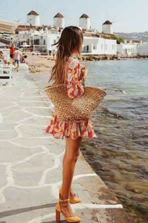 Print Ruffled Mini Dress