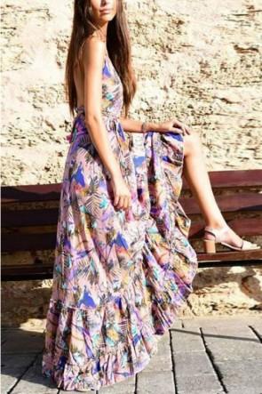 Printed Deep V-Neck Backless Floor Dress