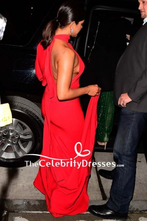 Priyanka Chopra Red One-shoulder Mermaid Evening Dress 2019 UNICEF Snowflake Ball TCD8792