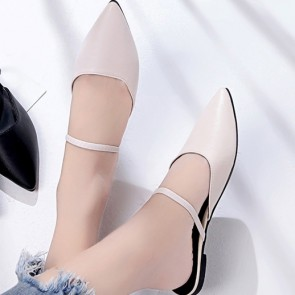 PU Pointed Toe Open Heel Flat Pumps Shoes