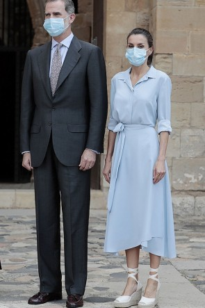 Queen Letizia of Spain Baby Blue Shirt Dress