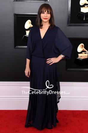Rashida Jones Navy Pleated Wrap Dress 2019 Grammys Red Carpet