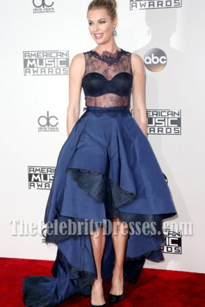 Rebecca Romijn Blue Lace Evening Prom Gown 2016 American Music Awards