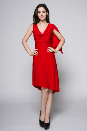Red Asymmetric Cocktail Party Holiday Summer Dresses