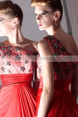 Red Floor Length Off-the-Shoulder Prom Evening Dresses