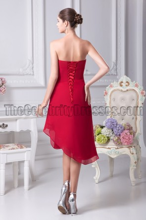Red Strapless Asymmetric Bridesmaid Cocktail Dresses