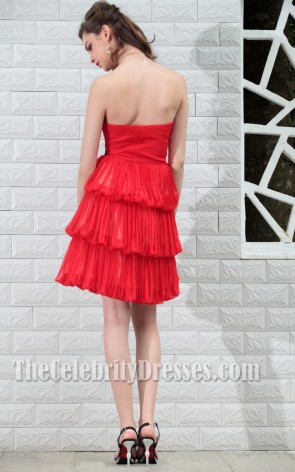 Red Strapless Beaded Homecoming Party holiday Dresses