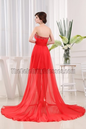 Red Strapless Beaded Prom Gown Evening Formal Dresses
