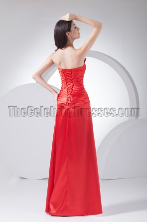 Elegant Red Strapless Beaded Prom Gown Evening Dress