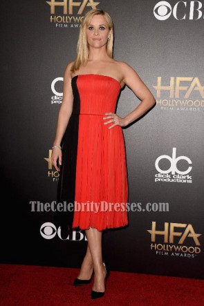Reese Witherspoon Black And Red Cocktail Dress 2014 Hollywood Film Awards