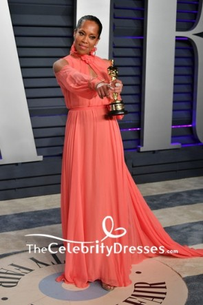Regina King Watermelon Cut Out Cold-shoulder Formal Dress 2019 Vanity Fair Oscar party